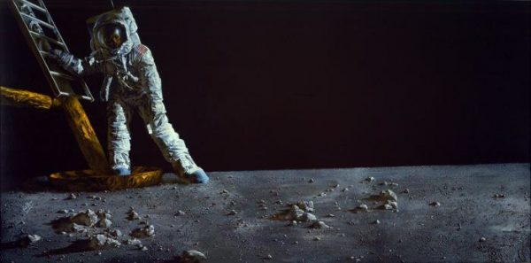 Paul Calle's painting of Neil Armstrong setting foot on the moon