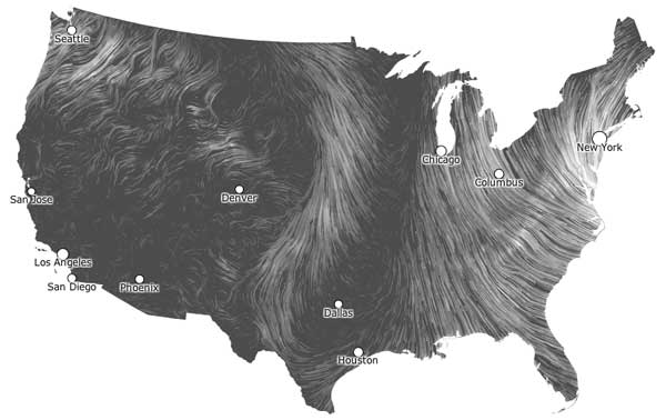 Wind Map as of October 29, 2012 10:59 am EDT. Image credit hint.fm