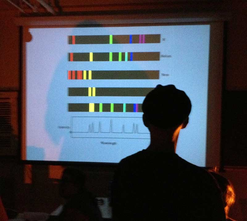 Chaz Brenchley having a go at identifying elements from their emission spectra