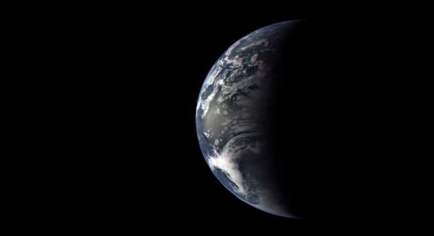 Leaving home: Image captured from the MESSENGER spacecraft during its flyby past earth in August 2005. Image credit: Credit: NASA/Johns Hopkins University Applied Physics Laboratory/Carnegie Institution of Washington