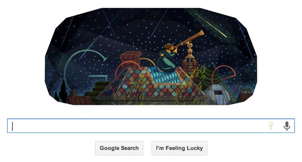 The Google Doodle of August 1st, 2013 honors astronomer Maria Mitchell. Image credit: Google