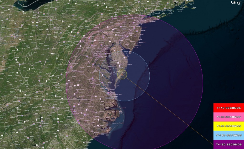 Visibility map of  Antares/Cygnus launch on Sept. 18, 2013 at 10:50 a.m. EDT from NASA Wallops, VA. Credit: NASA Wallops Flight Facility