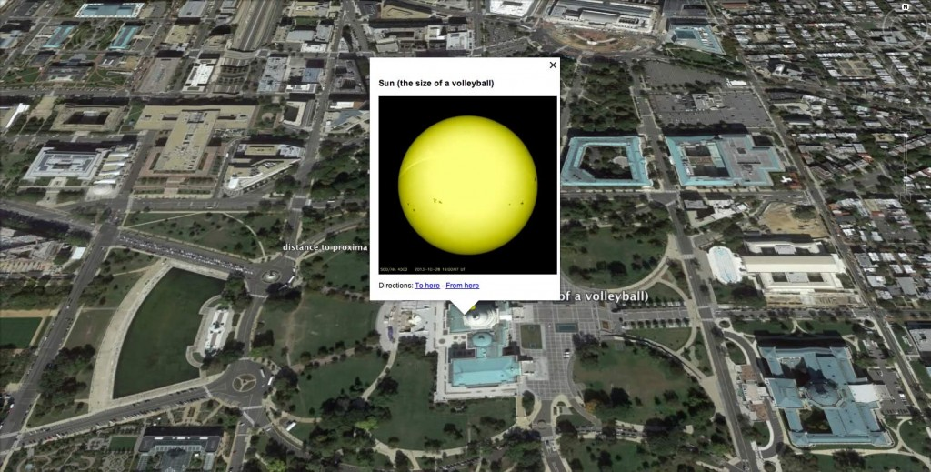 The Sun, shrunk down to the size of a regulation Volleyball (radius of about 10.5 cm) placed atop the Capitol Building in Washington, DC. Image from Google Earth