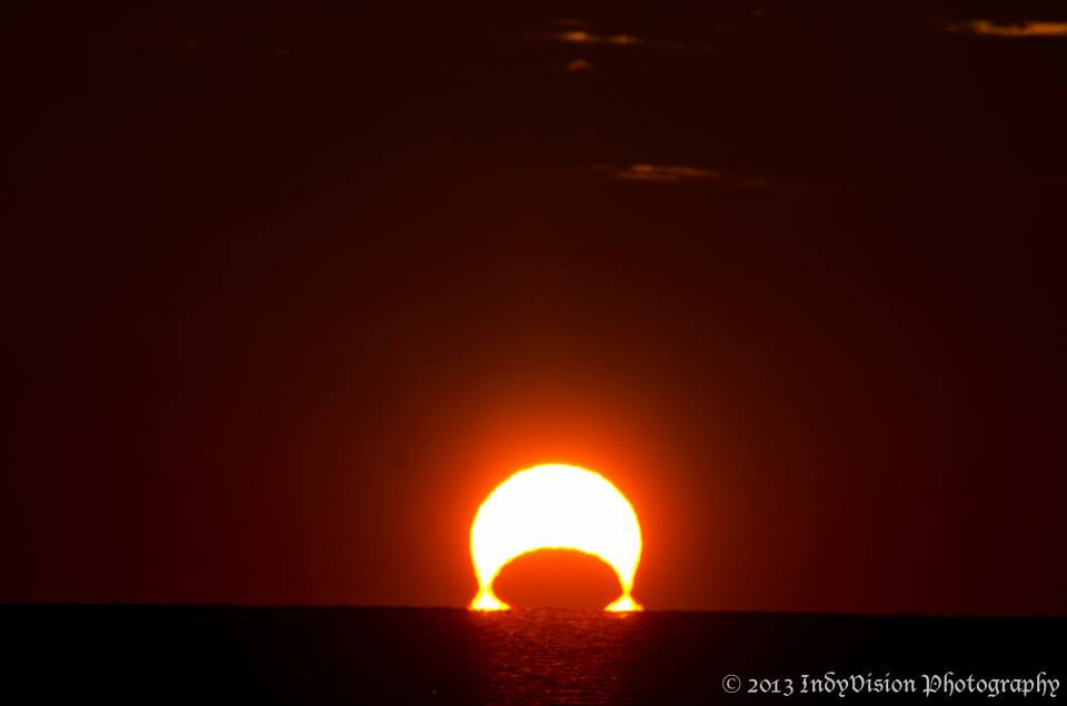 """A crescent sunrise captured by Mark """"Indy"""" Kochte."""