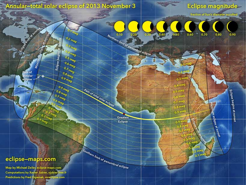 We need a bigger boat! Map of the 2013 solar eclipse courtesy Michael Zeiler