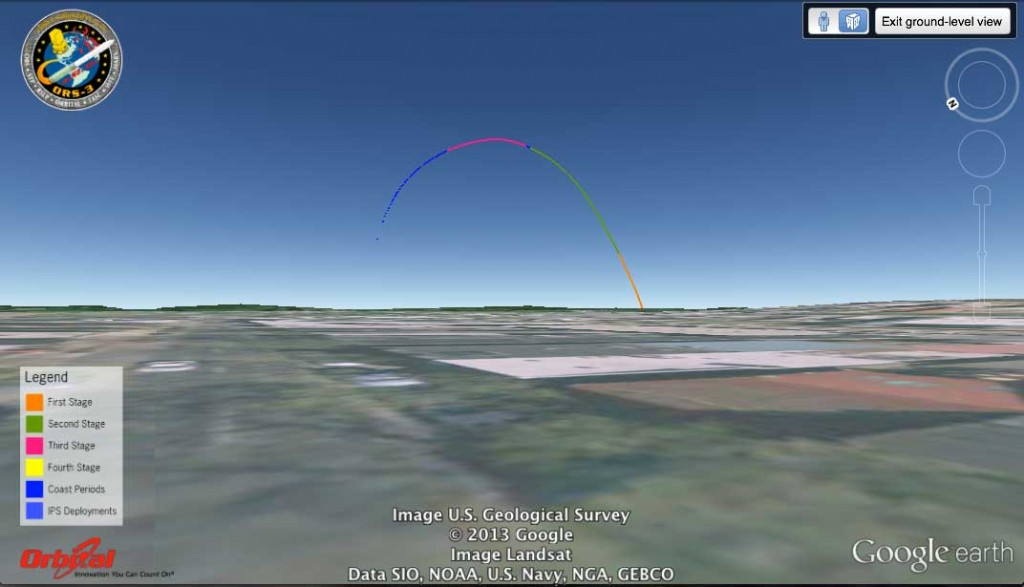 Simulated launch track of Minotaur 1/ORS-3 from Frederick, MD, looking toward the southeast. Image credit: Google