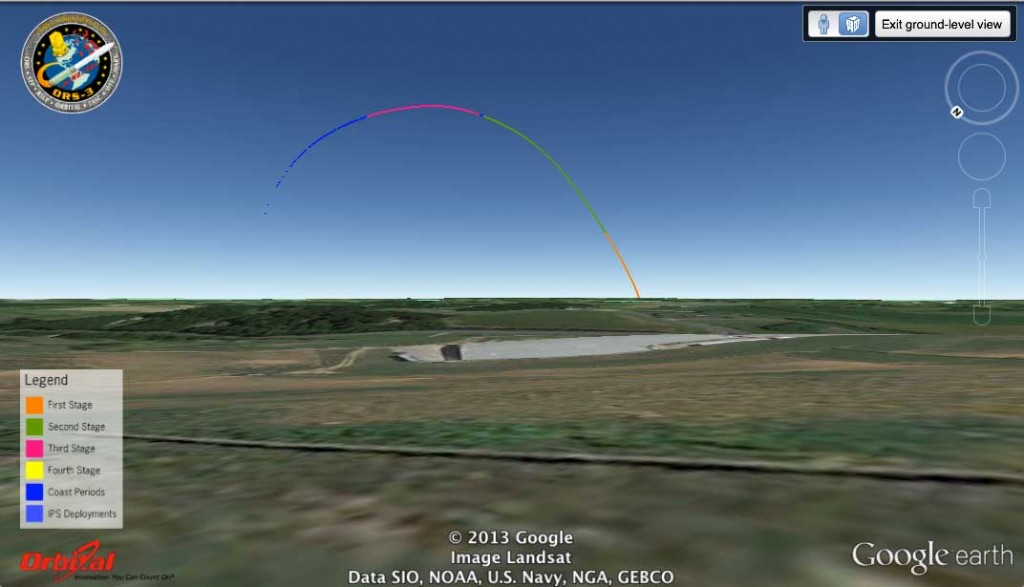 Simulated launch track of Minotaur 1/ORS-3 from Westminster, MD, looking toward the southeast. Image credit: Google