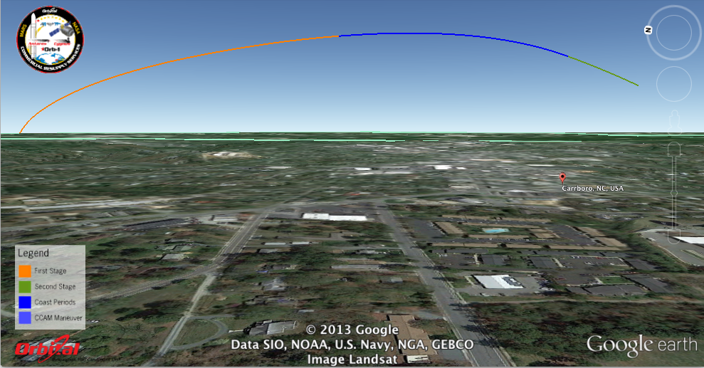 Simulated launch track of Antares/Orb-1 from Carobo, NC, looking toward the northeast. Image credit: Google