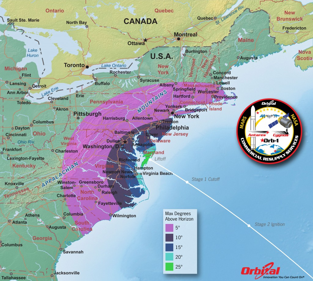 Orb-1 Launch viewing map. Credit: Orbital Sciences Corp
