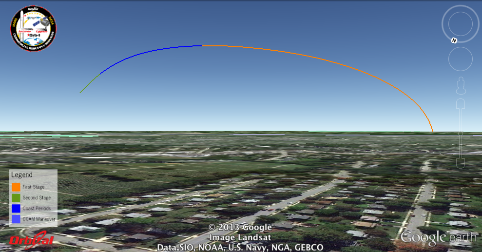 Simulated launch track of Antares/Orb-1 from Springfield, PA, looking toward the southeast. Image credit: Google