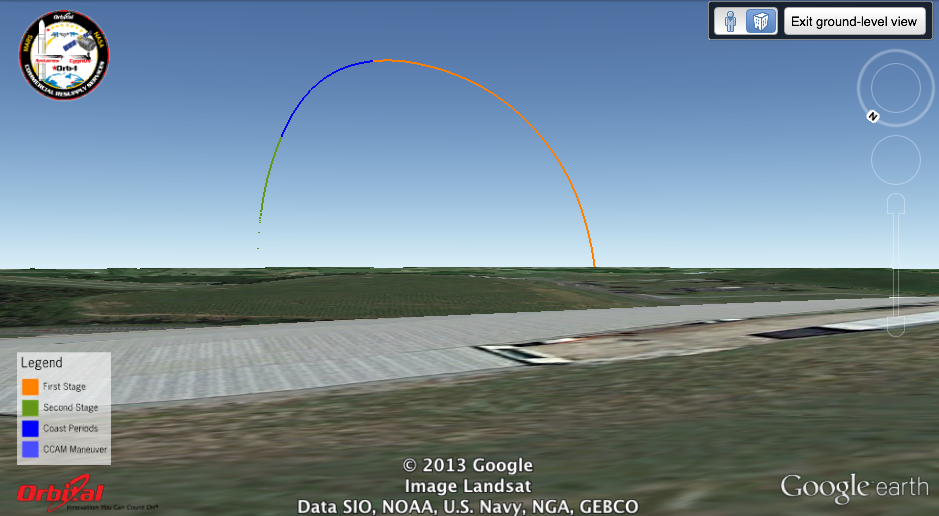 Simulated launch track of Antares/Orb-1 from Westminster, MD, looking toward the southeast. Image credit: Google
