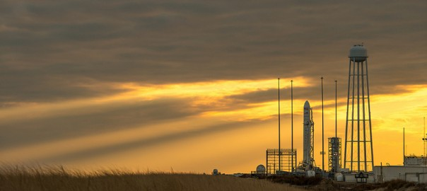 An Orbital Sciences Corporation Antares rocket is seen on launch Pad-0A at NASA's Wallops Flight Facility, Monday, January 6, 2014 in advance of a planned Wednesday, Jan. 8th, 1:32 p.m. EST launch, Wallops Island, VA. The Antares will launch a Cygnus spacecraft on a cargo resupply mission to the International Space Station. The Orbital-1 mission is Orbital Sciences' first contracted cargo delivery flight to the space station for NASA. Among the cargo aboard Cygnus set to launch to the space station are science experiments, crew provisions, spare parts and other hardware. Photo Credit: (NASA/Bill Ingalls)