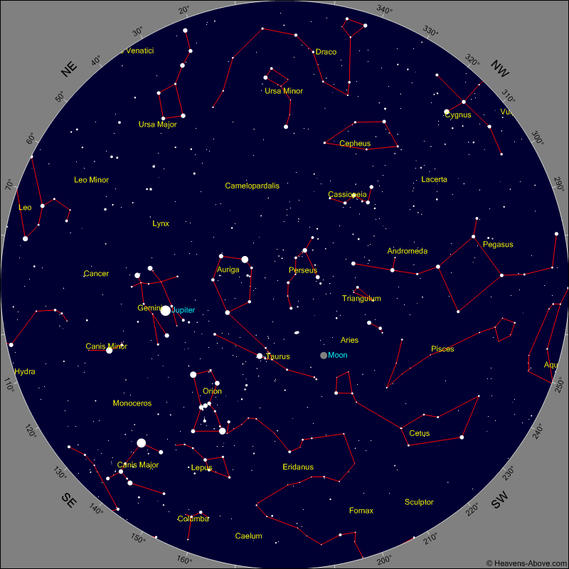 Simulation of the night sky as seen over Baltimore, MD February 2014. Image Credit: heavens-above.com