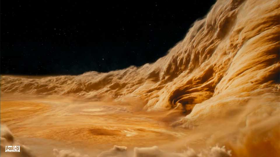 Near the eye of the storm in Jupiter's Great Red Spot. Credit: FOX