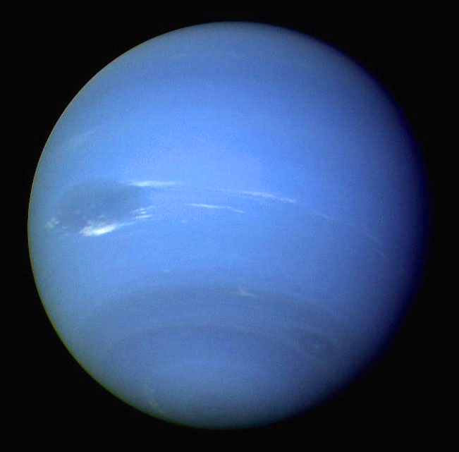 Neptune, as seen by Voyager 2 on August 25, 1989. It didn't look like this on the TV screen.