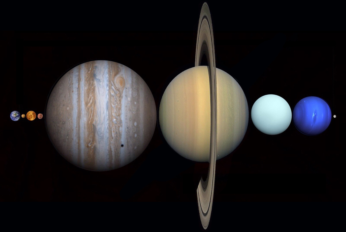 All ur planets belong to us: The planets of the solar system can fit between Earth and the Moon. Credit: Astronomy Foundation