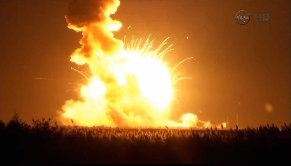 Still from NASA TV showing Antares Orb-3 Explosion. Credit: NASA