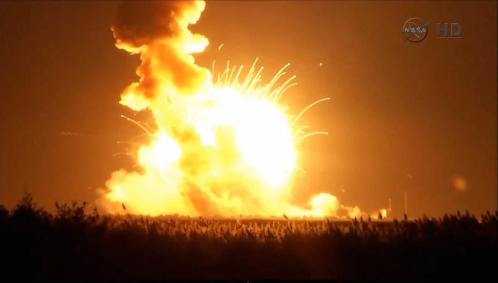 Still from NASA TV showing Antares Orb-3 Explosion. Credit: NASA