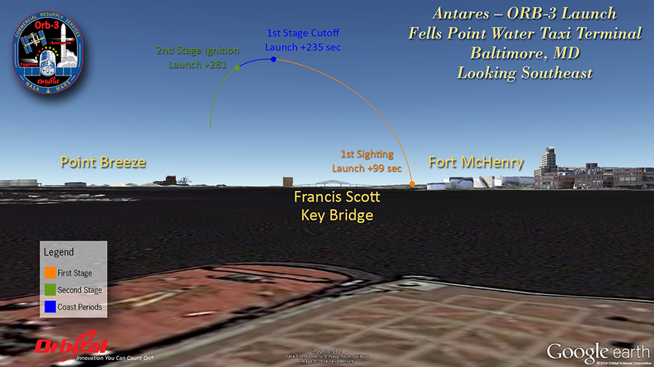 What the Antares launch will look like from Fells Point in Baltimore, MD. Credit: Orbital Sciences Corp.