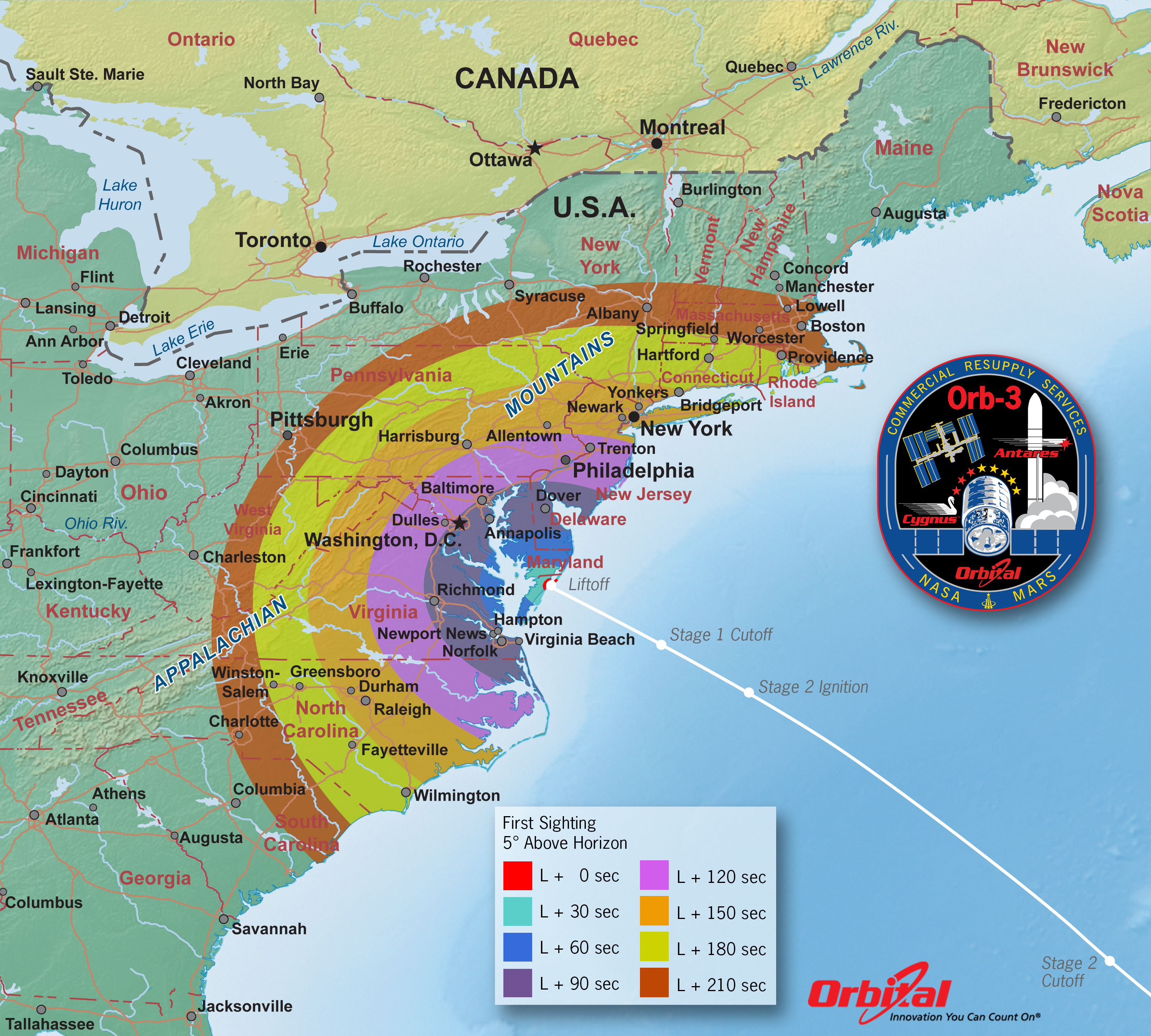 Orb 3 Launch viewing map Credit Orbital Sciences