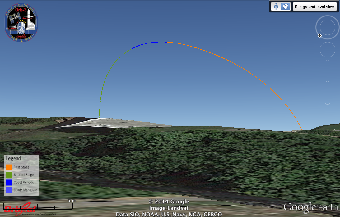 Simulated launch track of Antares/Orb-3 from Towson, MD, looking toward the southeast. Image credit: Google