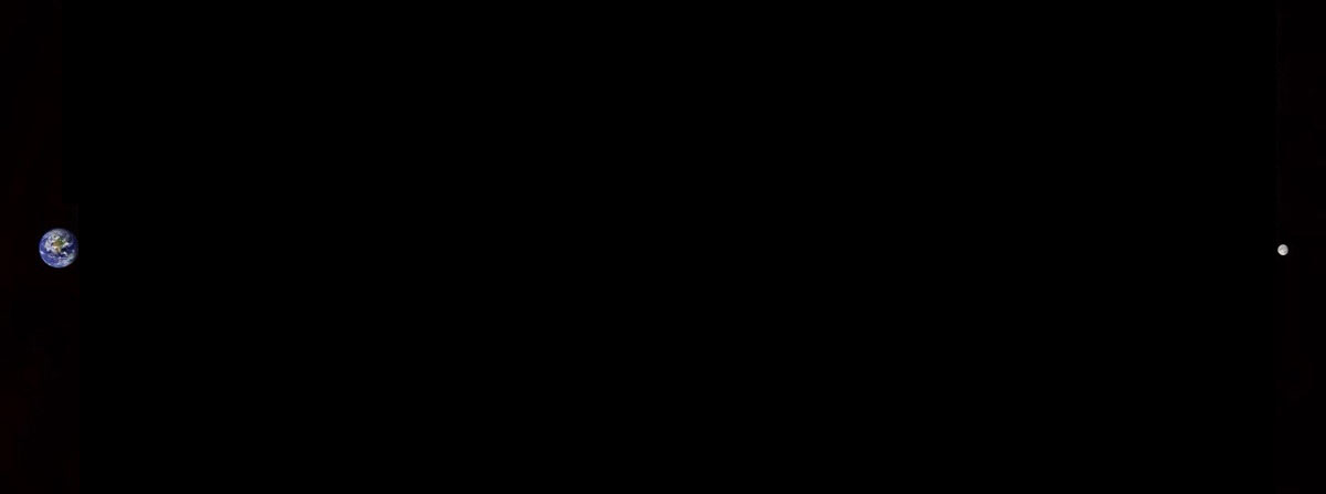The Earth and Moon to scale.