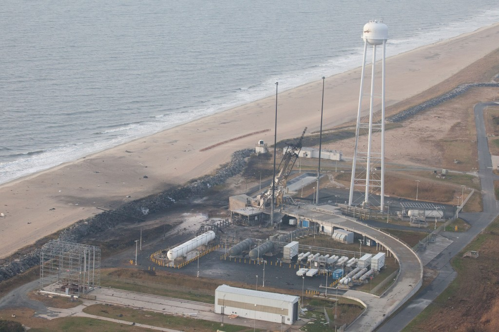 Wallops launch pad looking south after launch failure An aerial view of the Wallops Island launch facilities taken by the Wallops Incident Response Team Oct. 29 following the failed launch attempt of Orbital Science Corp.'s Antares rocket Oct. 28. Image Credit:  NASA/Terry Zaperach