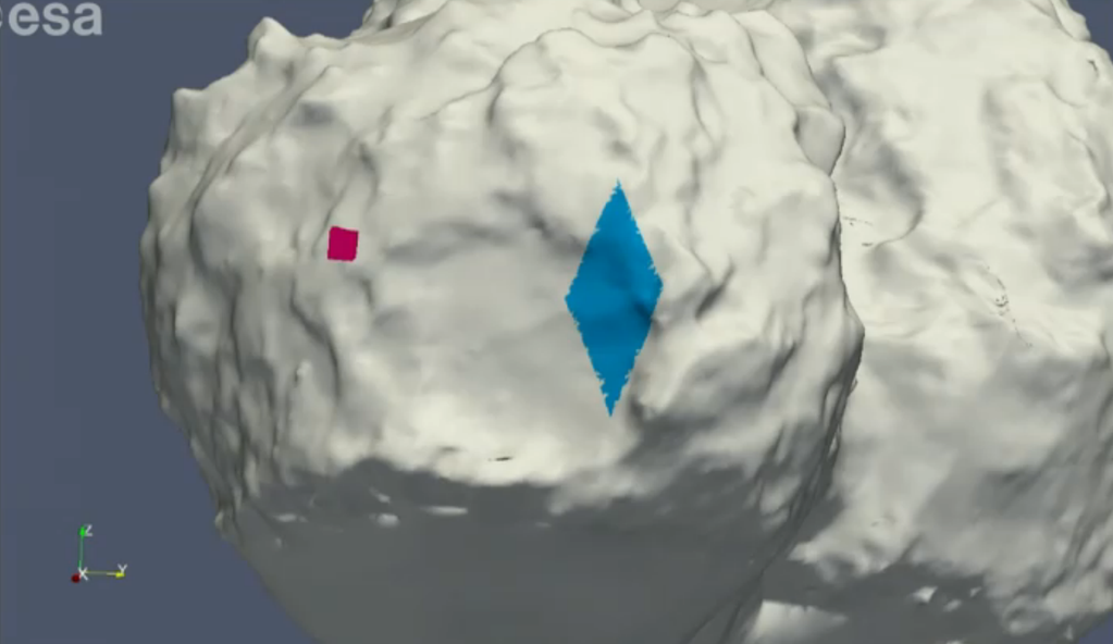 Philae's planned landing site (red) and the area where it most likely bounced to (blue). Credit: ESA
