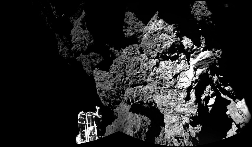 Surface of Comet 67P, taken from one of Philae's landing leg cameras. Credit: ESA