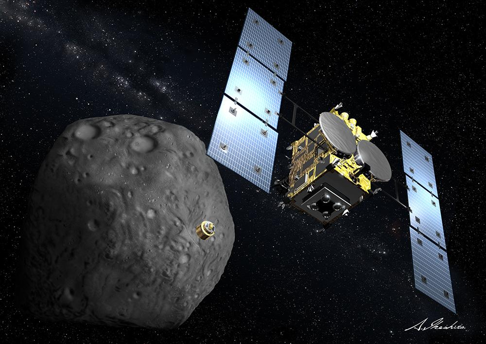 Artist's impression of Hayabusa2 launching the Minerva lander.Credit JAXA
